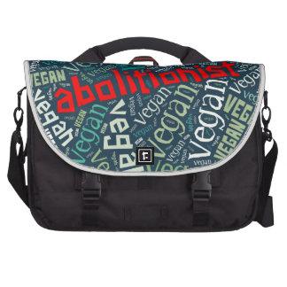 """""""Abolitionist Vegan"""" Word-Cloud Mosaic Laptop Commuter Bag"""