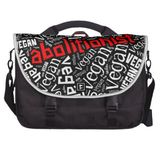 """Abolitionist Vegan"" Word-Cloud Mosaic Laptop Bag"