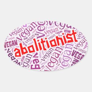 """Abolitionist Vegan"" Word-Cloud Mosaic Oval Sticker"
