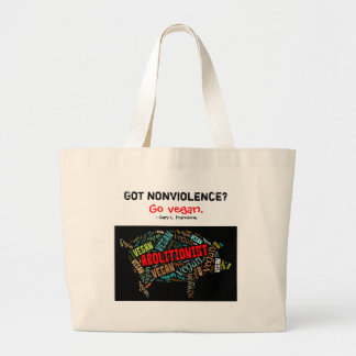 """Abolitionist Vegan"" Word-Cloud Mosaic Pig & Quote Jumbo Tote Bag"