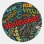 """Abolitionist Vegan"" Word-Cloud Mosaic Classic Round Sticker"