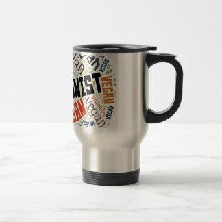 """Abolitionist Vegan"" Word-Cloud Mosaic Travel Mug"