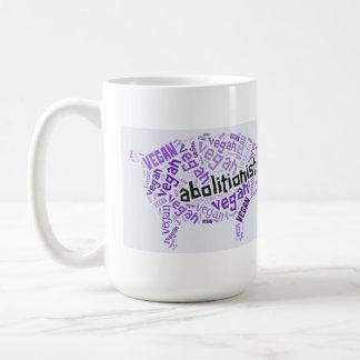 """Abolitionist Vegan"" Word-Cloud - Piggy & Quote Coffee Mug"