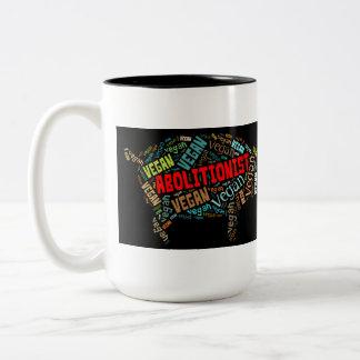"""Abolitionist Vegan"" Word-Cloud - Piggy & Quote Two-Tone Coffee Mug"