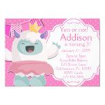 Abominable Snow Princess Yeti Girls Birthday Invitation