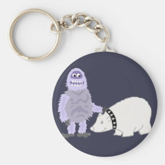Abominable Snowman with Pet Polar Bear Keychain