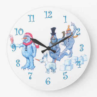 Abominable Snowmen and Dog Large Clock