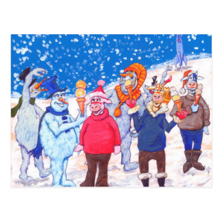 abominable Snowmen of Pluto and Space Cows Postcard