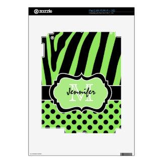Abone piel de la cebra del iPad negro 2 de la raya Skin Para El iPad 2