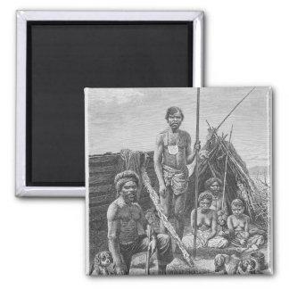 Aborígenes de Queensland grabados de una fotografí Imán Cuadrado