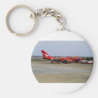 Aboriginal art, Quantas 747, Kingsford Smith Airpo Basic Round Button Keychain