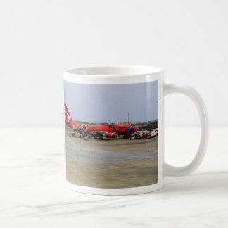 Aboriginal art, Quantas 747, Kingsford Smith Airpo Classic White Coffee Mug