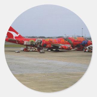 Aboriginal art, Quantas 747, Kingsford Smith Airpo Classic Round Sticker