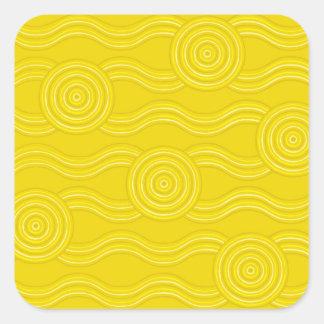 Aboriginal art wattle square sticker