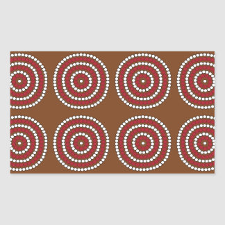 Aboriginal brown rectangular sticker