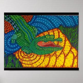 aboriginal crocodile art poster
