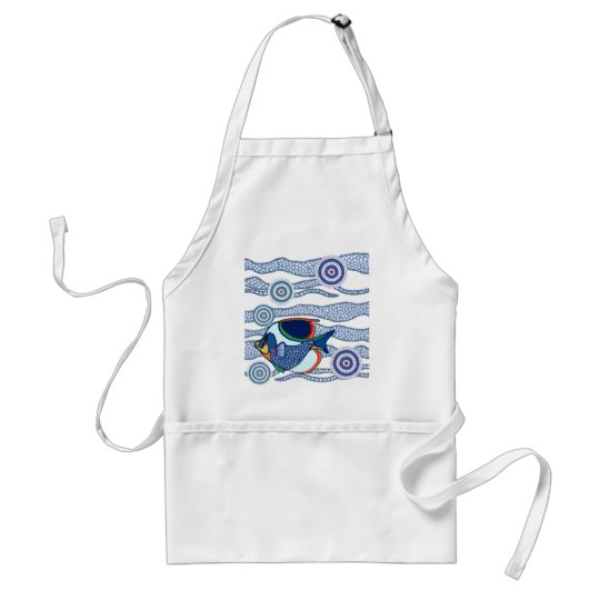 Aboriginal Dot Art Fish-01 Adult Apron