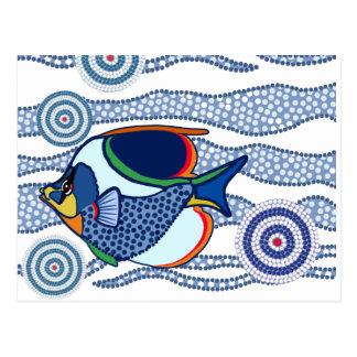 Aboriginal Dot Art Fish-01 Postcard