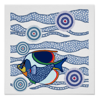 Aboriginal Dot Art Fish-01 Poster