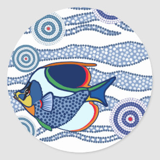 Aboriginal Dot Art Fish-01 Round Sticker