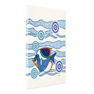 Aboriginal Dot Art Fish Canvas Print