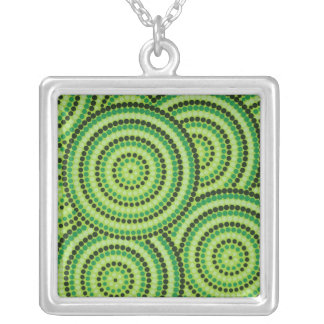 Aboriginal dot painting silver plated necklace