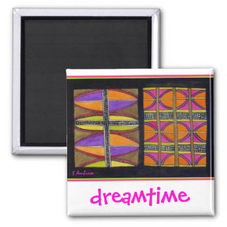 Aboriginal dreamtime Shields by S Ambrose 2 Inch Square Magnet