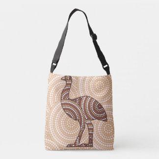 Aboriginal emu dot painting crossbody bag