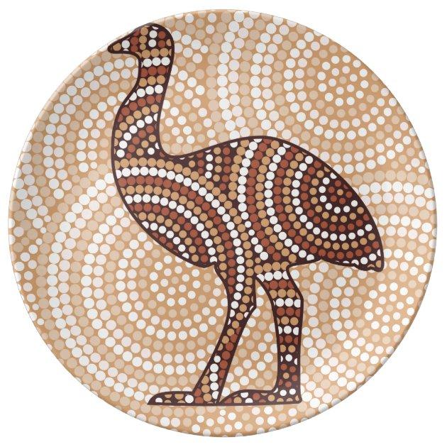Aboriginal Emu Dot Painting Plate Zazzle Com