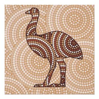 Aboriginal emu dot painting poster