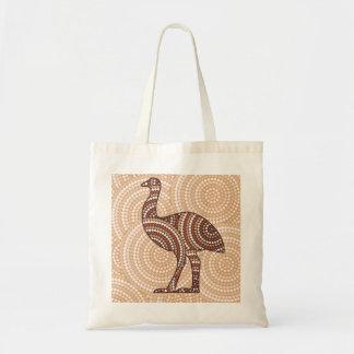 Aboriginal emu dot painting tote bag