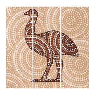 Aboriginal emu dot painting triptych
