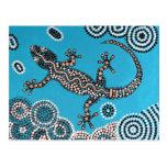 Aboriginal especie, salamanquesa, pintura de punto postal