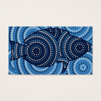 Aboriginal fish dot painting business card