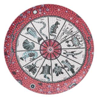 Aboriginal Horoscope Red Melamine Plate