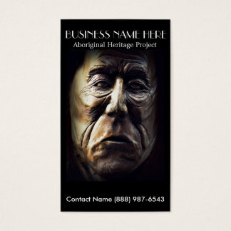 Aboriginal Indian Face Carved in Wood Business Card