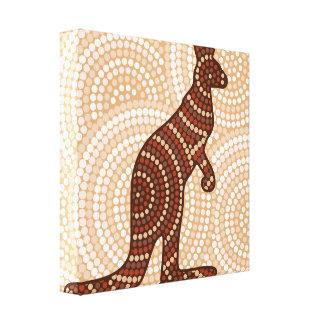 Aboriginal kangaroo dot painting canvas print