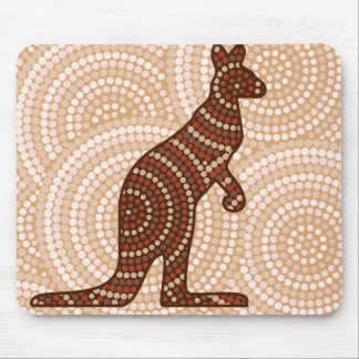 Aboriginal kangaroo dot painting mouse pad