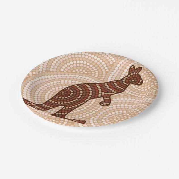 Aboriginal Kangaroo Dot Painting Paper Plate Zazzle Com