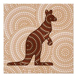 Aboriginal kangaroo dot painting poster