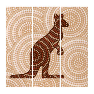 Aboriginal kangaroo dot painting triptych