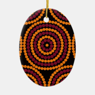 Aboriginal Life cycle Double-Sided Oval Ceramic Christmas Ornament