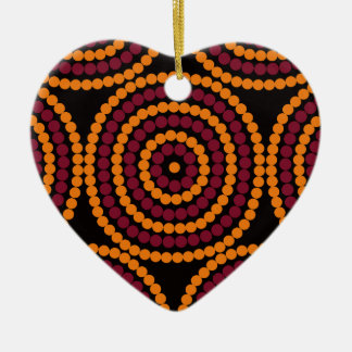Aboriginal Life cycle Double-Sided Heart Ceramic Christmas Ornament