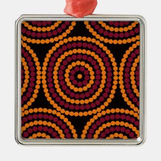 Aboriginal Life cycle Square Metal Christmas Ornament