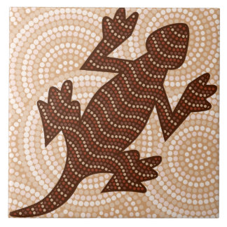 Aboriginal lizard dot painting ceramic tile