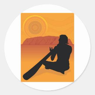 Aboriginal Silhouette Classic Round Sticker