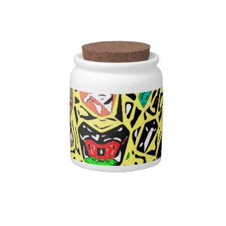Aboriginal Surreal Yellow Candy Jars