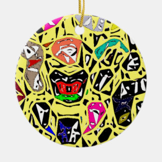 Aboriginal Surreal Yellow Ceramic Ornament