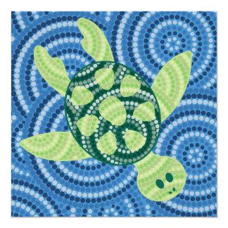 Aboriginal turtle dot painting card