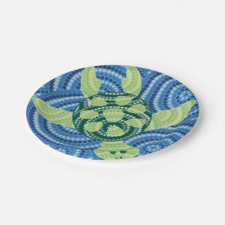 Aboriginal turtle dot painting paper plate